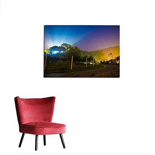 kungfu Decoration Home Decor Wall Panoramic View Night on Mountain View at The North of thailand1 Art Poster W35.4 x L23.6 ()