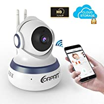 TOGUARD Wireless Security Camera Baby Monitor Smart Home Camera with Cloud Storage Night Vision Pan/Tilt, Two-Way Audio APP Remote View for Android iOS