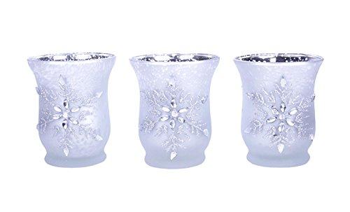 Set of 3 Jeweled Snowflake Silver Glass Tealight Candle Holders (Snowflake Candle Holders)