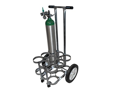 FWF OXYGEN 4-WHEEL ROLLING CART HOLDS 9 (D OR E STYLE) CYLINDERS DIAMETER 4.3'' MADE IN USA by FWF Medical Products