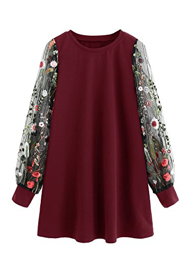 DIDK Round Neck Floral Embroidered Mesh Sleeve Pullover Tunic Dress Wine L