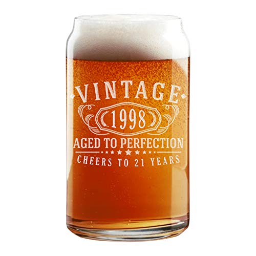 21st Birthday Etched 16oz Beer Can Glass - Vintage 1998 Aged to Perfection - 21 years old gifts