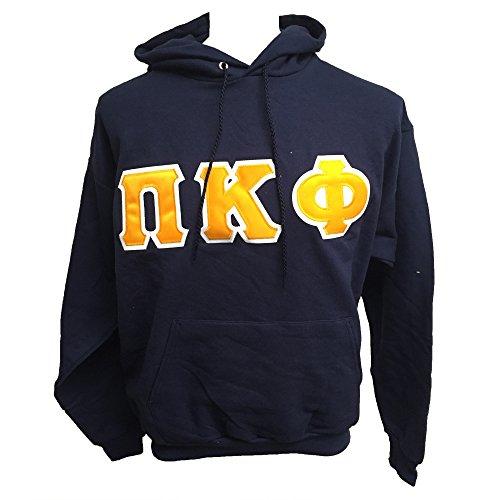 Pi Kappa Phi Navy Sewn Letter Hooded Sweatshirt - Size Extra Large (XL) Pi Kapp (Letter Sewn)