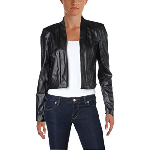 Calvin Klein Women's Long Sleeve Faux Leather Jacket, Black, Medium