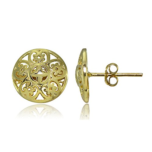 Yellow Gold Flashed Sterling Silver Vintage Round Filigree Stud Earrings