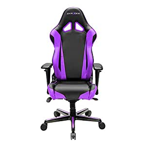 DXRacer Racing Series DOH/RV001/NV Newedge Edition Racing Bucket Seat Office Chair Gaming Chair PVC Ergonomic Computer Chair eSports Desk Chair With Pillows(Black/Violet)