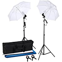 AW Portable Flat Clothing Photography Kit w/ backdrop 2x 45W Bulb 2x 33 Translucent White Umbrella Set