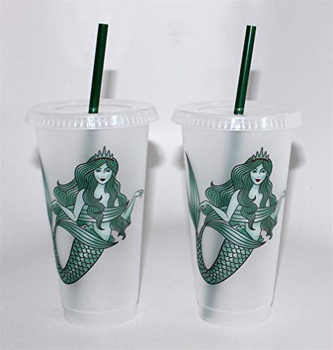 Starbucks Mermaid Reusable Plastic Cold Cup, 24 fl oz (2 Pack)]()