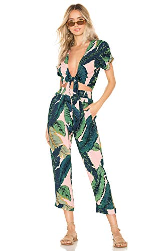 ALAIX Women's Floral Print Jumpsuit Short Sleeve Crop Top High Waist Wide Leg Pants 2Pieces Party Beach Outfits Green-L