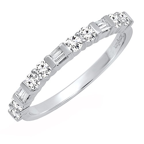 Dazzlingrock Collection 0.40 Carat (ctw) 14K Round & Baguette Diamond Ladies Wedding Band, White Gold, Size 7