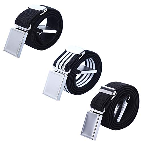 (AWAYTR Kids Magnetic Belts for Boys - 3 Pcs Adjustable Elastic Toddler Belt (Black Ripple/Black/Black&White Stripe))