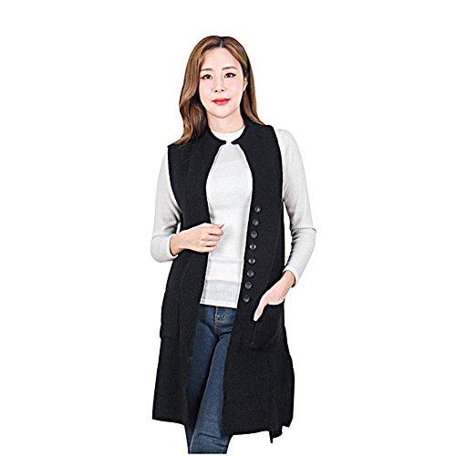 Luxe 7 Kn1722 Women's Women's Pockets Long Sweater Vest Cardigan Outwear Coat (Black) by Luxe 7
