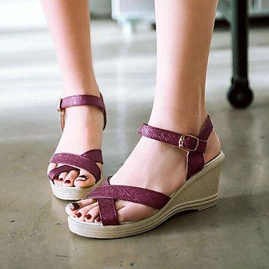 RUGAI-UE Moda de Verano Mujer sandalias casuales zapatos de tacones PU Confort,Blue,US11 / UE43 / UK9 / CN44 Purple