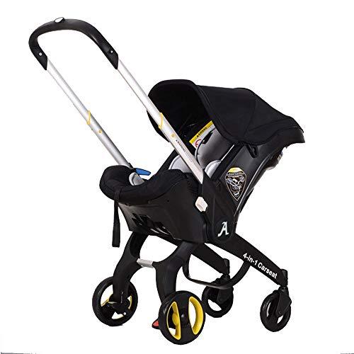 Pram System - New Multifunction Baby Stroller/Cradle / Carrycot/Car seat 4 in 1 Travel System Pram Infant Portable Pushchair Rock Infant Carrier Bundle (Black)