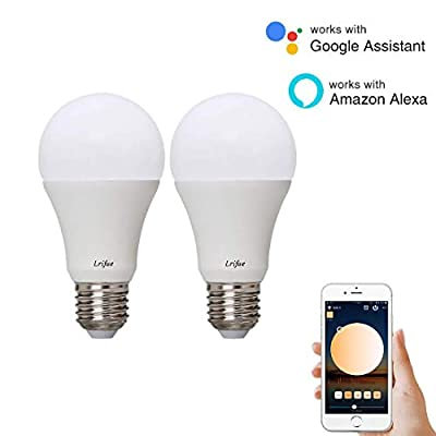 Lrifue E26 E27 10W 900LM Smart WiFi LED Bulb A19 60W Equivalent Dimmable 2700K-6500K Google Home No Hub Required Compatible with Alexa and Google Assistant(2 Pack)