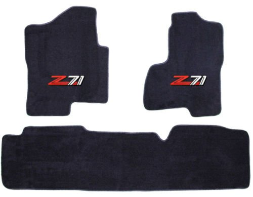 Chevy Silverado / GMC Sierra (Extended Cab) Black Custom Fit Carpet Floor Mat Set 3 Pc (2 Fronts / Rear Runner) with Z71 Logo on fronts - Fits 2007 08 09 10 11 12 13