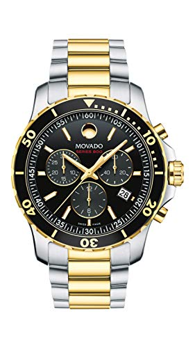Movado Men's Series 800 2-Tone Chronograph Watch with Printed Index, Gold/Black/Silver (2600146)