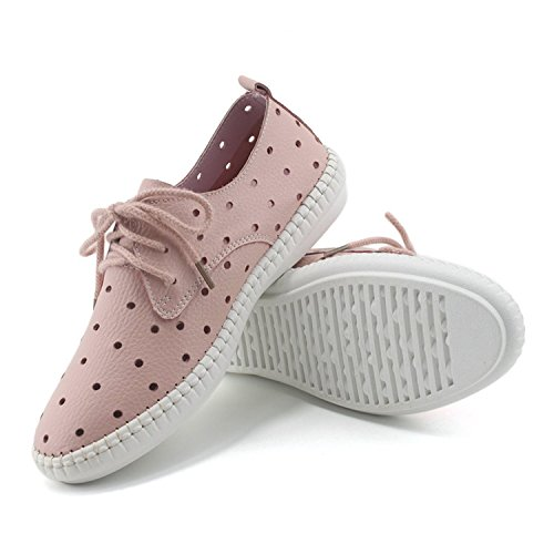 [Colnsky Casual Genuine Leather Mom Nurse Shoes Solid Colour Breathable Sport Flats cutpink8 B(M) US New] (Jackie Nurse Shoes)