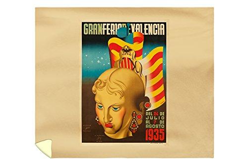 Gran Feria de Valencia Vintage Poster (artist: Renau Montoro) Spain c. 1935 (88x104 King Microfiber Duvet Cover) by Lantern Press