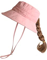 Kid's Girl's Wide Brim Bucket Sun Hat Packable Beach Play Hat with Ponytail Hole