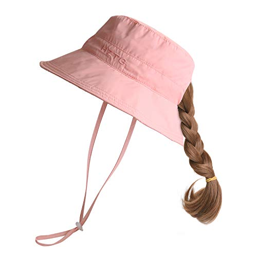 - Rgslon Toddler Girls Mom Reversible Bucket Hats Wide Brim UPF 50+ Sun Hats Floopy Hat with Ponytail Hole (Light Pink, Youth (22.83