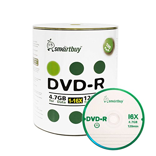 Smart Buy 100 Pack DVD-R 4.7gb 16x Logo Blank Data Video Movie Recordable Disc, 100 Disc 100pk