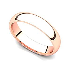 14k Rose Gold 4mm Classic Plain Comfort Fit Wedding Band Ring, 4