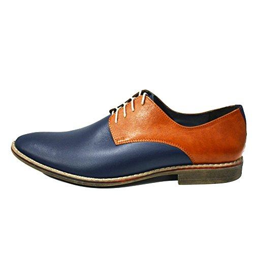 PeppeShoes Modello Bitonto - Cuero Italiano Hecho A Mano Hombre Piel Azul Marino Zapatos Vestir Oxfords - Cuero Cuero Suave - Encaje