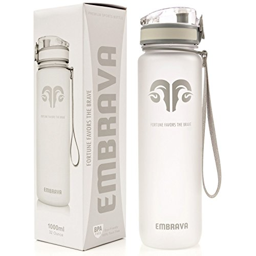 Embrava Best Sports Water Bottle - 32oz Large - Fast Flow, Flip Top Leak Proof Lid w/One Click Open - Non-Toxic BPA Free & Eco-Friendly Tritan Co-Polyester Plastic (White) (Perfect Amount Of Water For Bottle Flip)