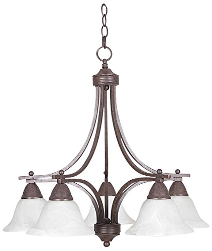 Sunset Lighting F5162-54 Chandelier with Faux Alabaster Glass, Painted Pewter Finish