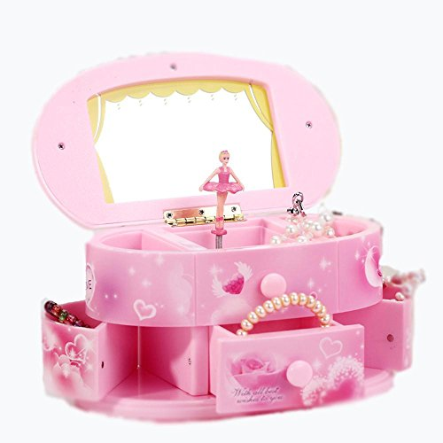 OOFYHOME LUOER Music Box-Makeup Mirror With A Spin Dance Girl-Pink Children's Birthday -