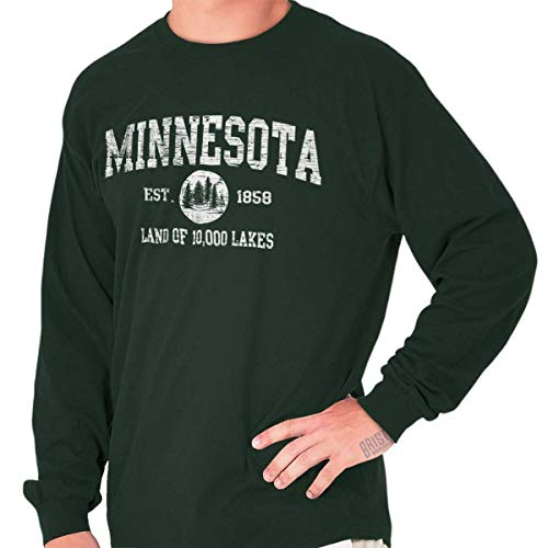 - Minnesota State Vintage EST Retro Hometown Long Sleeve Tee Forest Green
