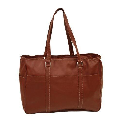 Piel Leather Large Shopping Bag, Red, One Size by Piel Leather