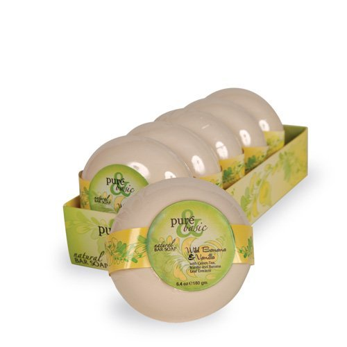 Bar Soap Wild Banana - Pure and Basic Bar Soap - Wild Banana Vanilla - Case of 6 - 6.4 oz - Leaves your skin feeling soft and cleansed of impurities by Pure & Basic