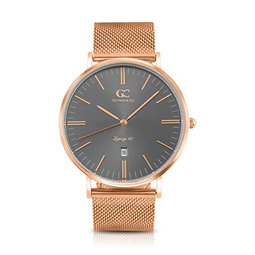 Gelfand & Co. Men's Minimalist Watch Rose Gold Mesh Band Perry 40mm Rose Gold Gray Metallic Dial