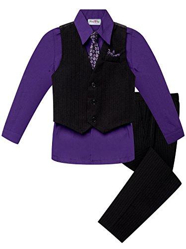 OLIVIA KOO Boy's Colored Shirt Pinstripe 4 Piece Pinstriped Vest Set, Purple, -