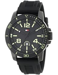 Tommy Hilfiger 1790847 Sport Black IP Watch with Black Silicon Strap and Illuminated dial Watch