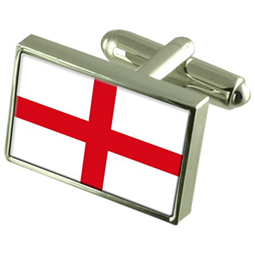 England ''St George?s Cross'' Sterling Silver Flag Cufflinks in Engraved Personalised Box by Select Gifts