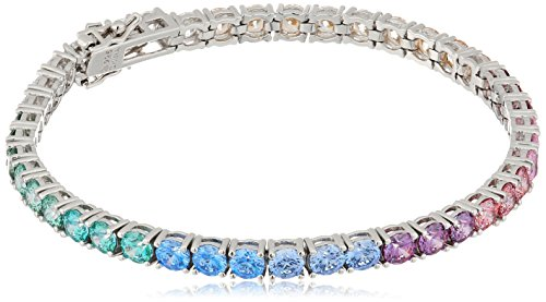 Ladies Platinum Collection - Platinum-Plated Sterling Silver Round-Cut Swarovski Zirconia Rainbow Tennis Bracelet, 7.25