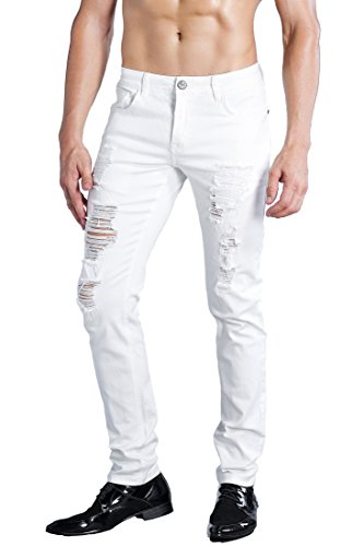 ZLZ Men's Ripped Skinny Distressed Destroyed Slim Fit Stretch Biker Jeans Pants with Holes (34, White)