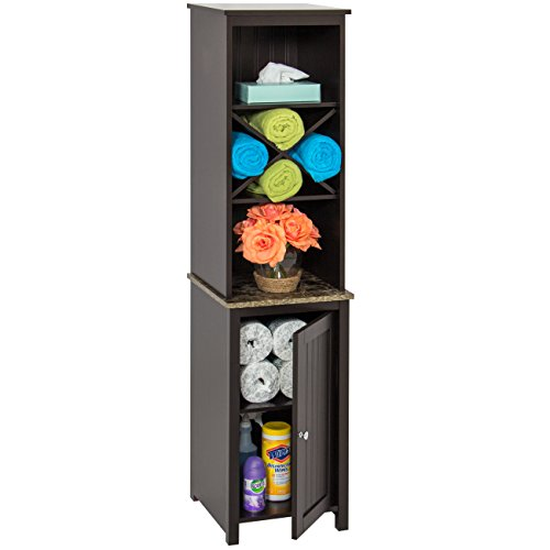 Best Choice Products Wooden Bathroom Space Saving Standing Tall Floor Tower Storage Cabinet Organizer w/Faux-Slate Adjustable Shelves - Brown