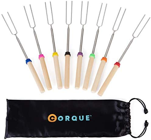 CORQUE Marshmallow Roasting Sticks Extendable- Set of 8 Smores Skewers for Fire Pit, Wooden Handle 32-inch Metal Smore Sticks for BBQ Hotdog, Cooking, Campfire, Bonfire
