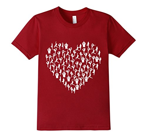Kids I Love Yoga T-Shirt Heart Poses Asanas Tee 10 Cranberry