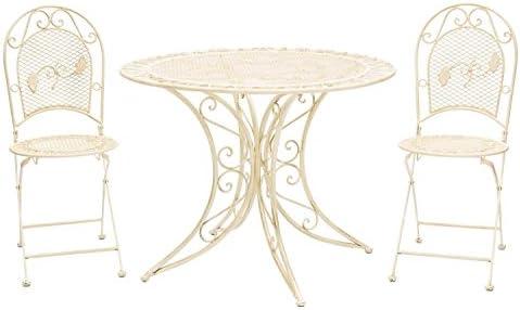 aubaho Mesa de jardín Juego de Muebles y 2 sillas de Hierro 100cm cremeweiß Estilo: Amazon.es: Jardín