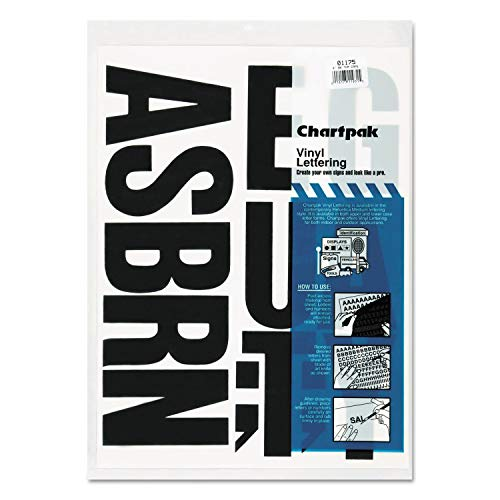 Chartpak Press-On Vinyl Uppercase Letters, Self Adhesive, Black, 4h, 58/Pack - 01175 Pack of 2 by Chartpak (Image #1)