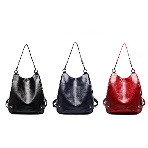 Nikauto Rouge pour femmes dos en sac à cuir zwU7xzq