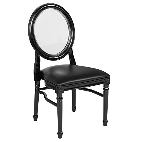 Flash Furniture HERCULES Series 900 lb. Capacity King Louis Chair with Transparent Back, Black Vinyl Seat and Black Frame