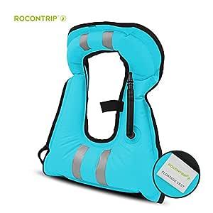 ROCONTRIP Inflatable Snorkel Vest, Portable Tear-Resistant Adult Kids Life Jacket with Adjustable Straps for Snorkeling Diving Kayaking Swimming Surfing (Blue)