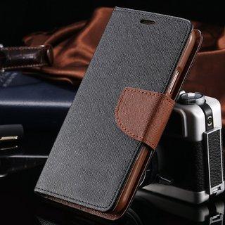 Delkart Wallet Flip Cover for Samsung Galaxy Core Prime  Brown