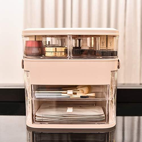 化粧品収納ボックス デスクトップ化粧品収納ボックス蓋付き大容量防塵棚スキンケアジュエリースーツケースアクリルピンク JSSFQK